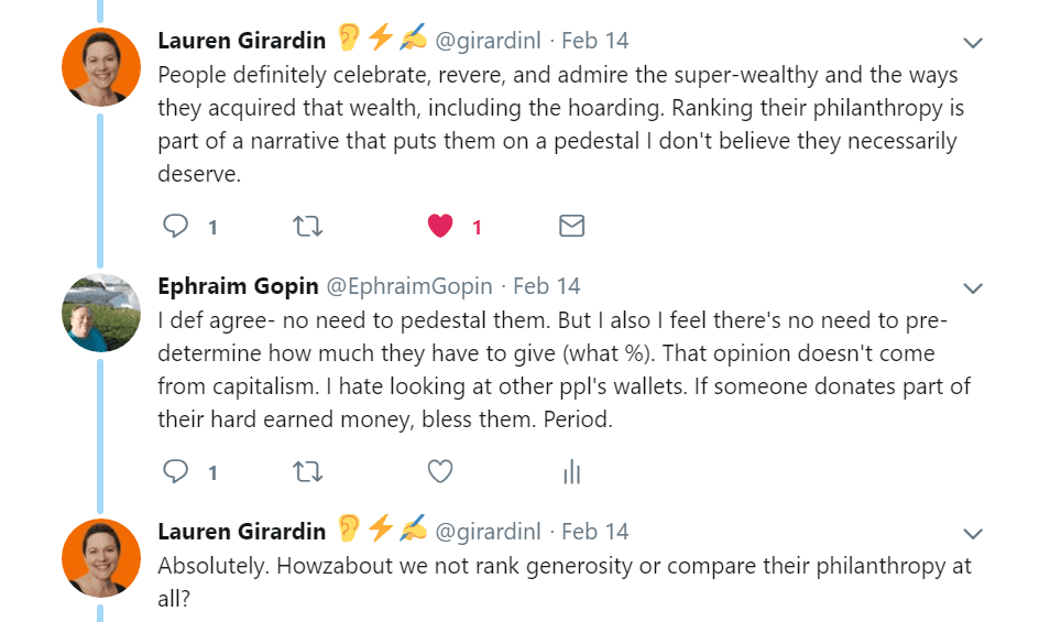 Twitter discussion about Jeff Bezos philanthropy