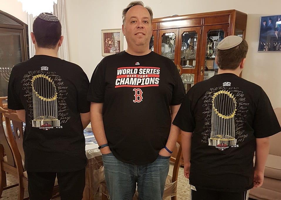 Wearing Boston Red Sox championship tshirts