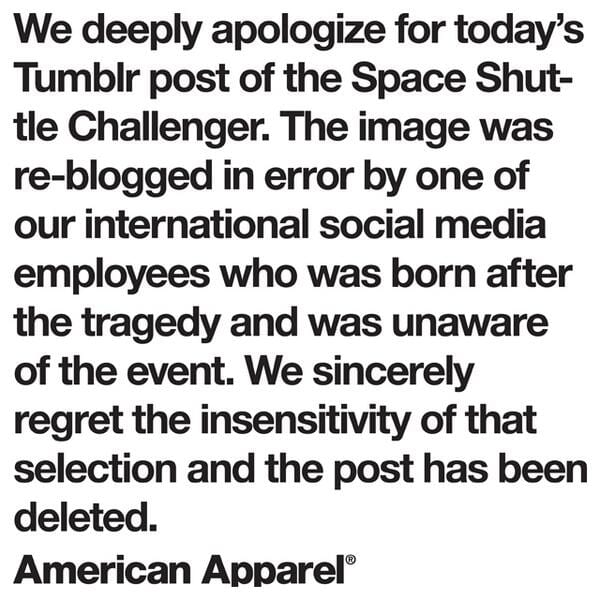 American Apparel apologizes for its July 4th post